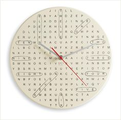 if you like puzzles, the 'hidden word clock' shows the numbers one to twelve, but there's 14 more time-related words hidden for you to find out