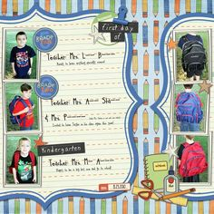 pinterest school scrapbook layouts | 1st Day of School Scrapbook Layout