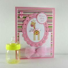 Baby girl card, baby shower card, welcome baby girl, giraffe, personalized card, embossed card