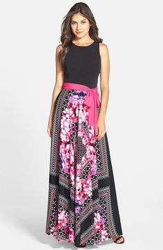 Free shipping and returns on Eliza J Print Crêpe de Chine Maxi Dress (Regular & Petite) at Nordstrom.com. A colorful sash defines the waist and delineates the fitted, minimalist bodice from this maxi's full, highly detailed skirt.