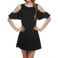 Black Women Butterfly Sleeve Cotton Cute Strap off Shoulder Vest plus size Casual Dresses