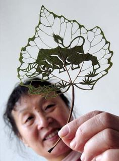 Leaf-carving artwork