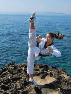 Once you start taekwondo you walk around kicking air and practicing wherever you are even when to first start you kick around with your family,and friends plus you do it at the beach the store and every place!!