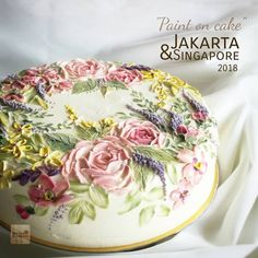 paint with knife palette Creation edible painting flowers art.