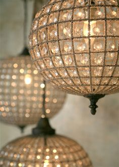 sparkly chandeliers, cluster a few of these at varying heights
