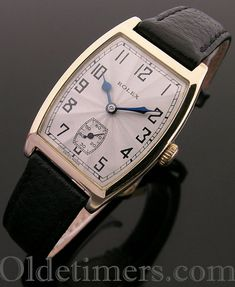 rare gold tonneau vintage Rolex watch, case is signed Rolex, 7 World's Records, RWCLtd. (Rolex Watch Company Limited) and hallmarked Glasgow 1926 Stylish Watches, Luxury Watches, Cool Watches, Vintage Rolex, Vintage Watches, Fossil Watches, Rolex Watches, Vintage Shoes, Vintage Men