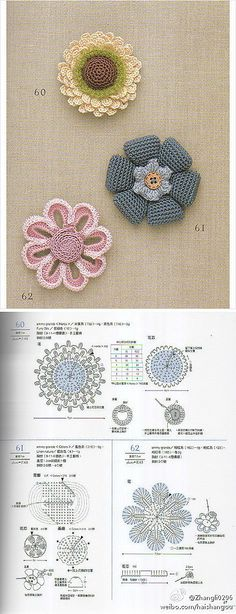 手工DIY 手工编织 crocheted flower graph pattern, chart #afs 7/5/13