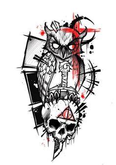 Diy Tattoo – Tattoo's World! Skull Tattoos, Body Art Tattoos, New Tattoos, Sleeve Tattoos, Tattoos For Guys, Cool Tattoos, Tatoos, Tattoo Sketches, Tattoo Drawings