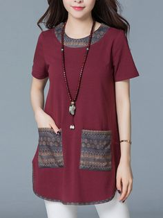 Vintage Patchwork Pockets O-Neck Short Sleeve Women Casual T-Shirts