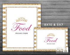 Princess Food Table Sign w/ Tiara Crown. 8x10 + 5x7 Printable Pink, Gold & White Food Sign for Girl Birthday or Baby Shower by GLDesigns2Go