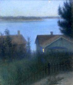 Robert Thegerström (Swedish, 1857 - 1919)  Twilight Pastel on canvas