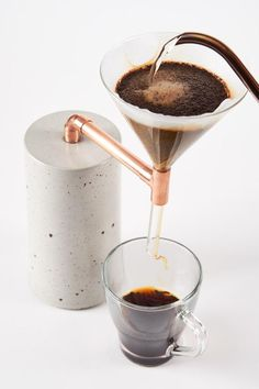"""ideas with cement Concrete """"Coffee Maker Single"""" Beton Kaffeezubereiter Coffee Maker 2 Single Beton Design, Concrete Design, Concrete Crafts, Concrete Projects, Concrete Furniture, Coffee Filters, Coffee Gifts, Coffee Design, Handmade Copper"""
