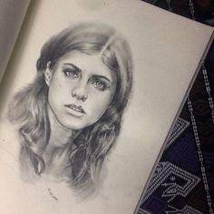 Pencil drawing  'Alexandra daddario #1'