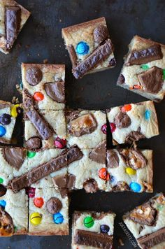 Leftover Halloween Candy Blondies from http://justataste.com #recipe