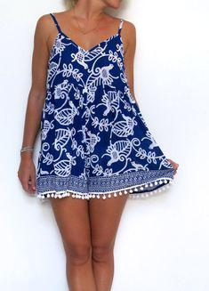 Pom Pom Jumpsuit - Blue and White with White Pom Poms Romper - beach playsuit