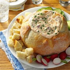 Creamy Sourdough Snack Recipe -This bread bowl dip was a big hit at my mom's 50th birthday party! —Darelyn Payes, Hayward, California