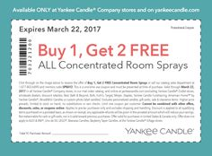 Pinned March 22nd: 3-for-1 on room sprays today at #YankeeCandle or online via promo code SPRAY2 #TheCouponsApp