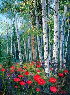 A dense aspen forest scene with the forest floor covered in blooming bright red poppy flowers.. Original Painting
