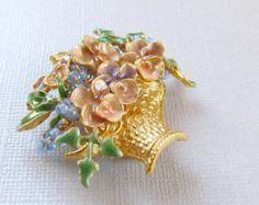Vintage Enamel Flower Basket Brooch Pin Pink Blue and Green