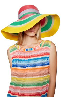 Founded in the 1950s by Ottavio and Rosita Missoni, the house cultivates a cult following for its striking, jolie-laide knits in kaleidoscopic colors. True to the label's bright aesthetic, this **Missoni** striped hat brings vivid chic to sunny getaways.