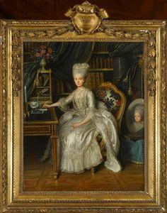 Louis Lié Périn-Salbreux, Portrait of Madame Adélaïde (daughter of Louis XV) in her library, 1776