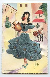 Embroidered Silk Andalucia Flamenco Dress Ethnic Spain old 1960s postcard