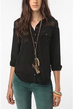 The whole outfit looks really nice! byCorpus Sheer-Trimmed Blouse from Urban Outfitters!