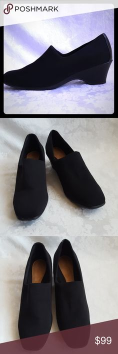 """Like New! Airsteps Black Wedge Heels Airstep black fabric shoes with 2 1/4"""" wedge-like heel. Soft, cushioned insole. Lightweight. Loafer-like style with heel.   Like new. Excellent condition. Smoke free and pet free home.  Check out my other listings - 100's of 👠shoes👠, 👢boots👢 and 👜bags👜. Bundle 2 or more and save money! 💲💵💲 Airsteps Shoes Heels"""
