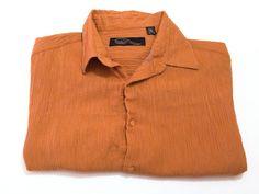 Jhane Barnes Frequency XL Mens Short Sleeve Button Front Silk Cotton Rust Orange #JhaneBarnes #ButtonFront