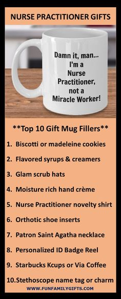 The best gift ideas for a male or female nurse practitioner, registered nurse, nursing school student, or graduating RN; coffee mugs are always a top gift idea.  11 ounces; made from the highest quality ceramic; microwave and dishwasher safe. Printed on both sides for left- or right-handed users; the print will never fade no matter how many times it's washed!  Custom printed, packaged, and shipped in the USA! #NP #nursepractitioner  #nurse #nurselife #nursegift #rn #nursingschool… Top Gifts, Gifts In A Mug, Best Gifts, Nurse Practitioner Gifts, Novelty Shirts, Patron Saints, Nurse Life, Office Gifts, Microwave
