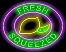 "NEON SIGN FRESH SQUEEZED LEMONADE 30"" WIDE X 24"" HIGH GREEN LTRS LEMON GRAPHIC"