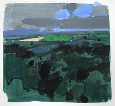 Far Green Original Summer Landscape Collage Painting by Paintbox