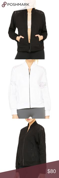 alo yoga // white lace-detail bomber jacket NWT super-chic full-zip bomber jacket with lace detail at the shoulders and back. Zipped pockets on either side. Fits TTS. 🌟🌟Selling WHITE version- pics of black jacket just to show detail!🌟🌟 ALO Yoga Jackets & Coats