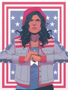 """"""" [image: fanart of america chavez / miss america from the waist-up. she wears her trademark hoodie and t-shirt, as well as a red hat. she is cracking her knuckles, left fist. Marvel Comic Universe, Marvel Dc Comics, Marvel Heroes, Marvel Cinematic Universe, Marvel Avengers, Miss America Marvel, Ms America, Captain America, Comic Book Characters"""