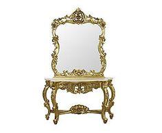Consolle in mogano e marmo con specchio Layla - 138x79x46 cm