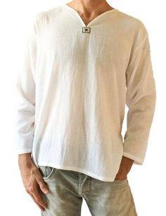 Men's Summer T-shirt Cotton Thai Hippie Shirt V-neck Beach Yoga Top (Large, White)- yoga clothes Latest Mens Wear, Latest Mens Fashion, Diy Fashion, Womens Fashion, Casual T Shirts, Casual Tops, Long Shirts, Mens Summer T Shirts, Georgia