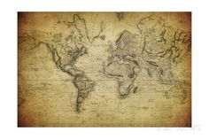 Vintage Map of the World, 1814 Art Print