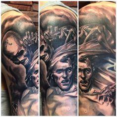 #skull #death #reaper #blackandgray #tattoo #photorealistic #skeleton #painful #art #manu