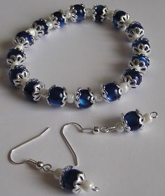 Blue Silver plated Bracelet and Earring Set by LydiasTreasures4u,