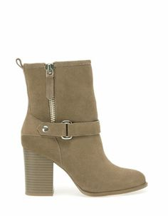 stradivarius High heel hide ankle boots with zip detail  55.95 €   Ref. 1114/341  7.5 cms