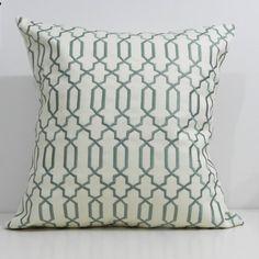 New 18x18 inch Designer Handmade Pillow Cases in spa and cream lattice, trellis
