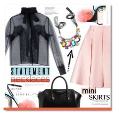 """""""Statement Necklaces & Mini Skirts"""" by chocolate-addicted-angel ❤ liked on Polyvore featuring Marco de Vincenzo, Rochas, Givenchy and Emilia Wickstead"""