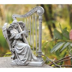 """Garden Angel with Harp Chimes 10"""" Angel Garden Statues, Outdoor Garden Statues, Garden Angels, Wind Chimes Sound, The Better Angels, Solar Led Lights, Lord Shiva Painting, Harp, Garden Gifts"""