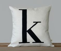 Personalized Initial Pillow | 18x18 | Modern Home Decor by JillianReneDecor | Typography Pillow | Lower Case Letter | Navy + Cream