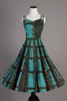 50s-60s VTG Maya de Mexico Original Black & Teal Dress w/ Gold Painted Print. A beautiful vintage dress perfect for a night out dancing! Pair it with a cardigan sweater for a colder evening, so sweet! Size S - $240 via eBay