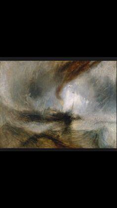 William Turner, de sneeuwstorm, 1839 Kenmerken: donkere kleuren met rondom de boot een fel licht van misschien een vuurtoren, emotie, drama, gevoel sfeer en licht spelen de hoofdrol Ontbreken van duidelijk perspectief en lijnen maken dit een raadselachtig schilderij  Het schilderij maakt een draaiende beweging  En het schip lijkt door een soort draaikolk meegezongen te worden