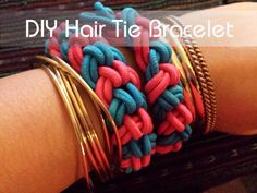 Would be a cute project for a teen or young adult that is just getting into jewelry making. Super easy! ~ hair tie bracelet (tutorial, diy, jewelry)