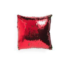 18x18 Reversible Sequin Pillow ($17) ❤ liked on Polyvore featuring home, home decor, throw pillows, green home decor, green toss pillows, red toss pillows, green accent pillows and red home accessories