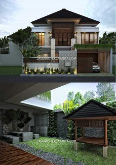 House Structure Design, House Front Design, Modern House Design, 2 Storey House Design, Bungalow House Design, Classic House Exterior, Townhouse Exterior, Modern Tropical House, Asian House