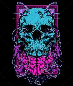 Buy Shirt Design: Skull 2 by on GraphicRiver. Vector illustration of skull for t-shirt printing. Graffiti Wallpaper, Skull Wallpaper, Dark Wallpaper, Graffiti Art, Arte Grunge, Heavy Metal Art, Rock Poster, Skull Illustration, Skull Artwork
